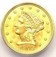 1903 LIBERTY GOLD QUARTER EAGLE $2.50   CERTIFIED ICG MS62 BU UNC    COIN