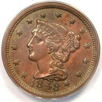 1848 BRAIDED HAIR LARGE CENT 1C   ANACS AU55 DETAILS    EARLY DATE PENNY