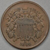 1864 TWO CENT PIECE LARGE MOTTO 2C