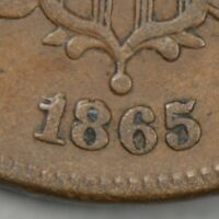 1865 TWO CENT PIECE RPD FS-1301 FANCY 5 2C CHERRYPICKERS' GUIDE REPUNCHED DATE