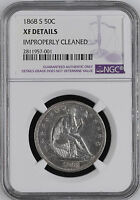 1868 S USA HALF DOLLAR NGC XF DETAILS  50 CENT SILVER COIN SEATED LIBERTY