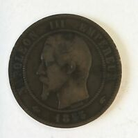 1855  FRENCH DIX CENTIMES COIN OLD NAPOLEON III EMPEREUR