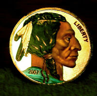 INDIAN HEAD/BUFFALO COLORIZED BOTH SIDES SILVER ROUND