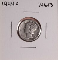 1944 D SILVER MERCURY DIME 14613,GOOD NATURAL PATINA UNCLEANED UNPOLISHED