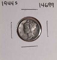 1944 S SILVER MERCURY DIME 14699 GOOD NATURAL PATINA UNCLEANED UNPOLISHED