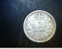1887 CANADA 5 CENTS MEDIUM TO HIGH GRADE .0346  OZ SILVER CAN 449