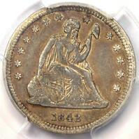 1842 O SMALL DATE SEATED LIBERTY QUARTER 25C   PCGS VF DETAILS   NEAR XF