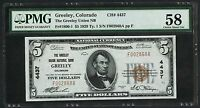 FR1800 1 $5 THE GREELEY UNION NB GREELEY CO 4437 PMG 58 CHOICE AU HW2599