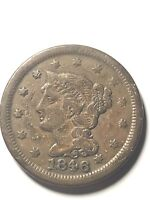 1846 MEDIUM DATE LARGE CENT BRAIDED HAIR EXTRA FINE US COIN