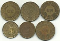 BETTER GRADE LOT OF 6 PERU ONE SOL COINS 1941,1944,1959,1960,1971,1974 APR644