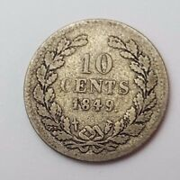 DATED : 1849   10 CENTS   COIN   NETHERLANDS   WILLEM II   SILVER COIN