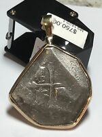 POSSIBLE 1715 FLEET AUTHENTIC SHIPWRECK SILVER 8 REALES 14K GOLD WRAPPED COB