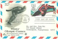 1C GEMS US UXC21 28C OLYMPIC SPEEDSKATER  POSTCARD ARTCRAFT  ADDRESSED FDC