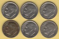 LOT OF 6 ROOSEVELT DIMES 1966P 1967P 1968P  1970P 1970D 1973P