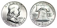 1961 D FRANKLIN HALF DOLLAR UNCIRCULATED BU 90 SILVER U.S. COIN IN MYLAR FLIP