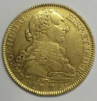 1776 MADRID 8 ESCUDOS CHARLES III DOUBLOON SPANISH COLONIAL GOLD COIN