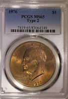 1976 P MS65 TYPE 2 EISENHOWER DOLLAR    PCGS GRADED COLORFULLY TONED IKE