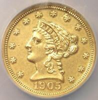 1905 PROOF LIBERTY GOLD QUARTER EAGLE $2.50   NGC PROOF AU DETAILS PF