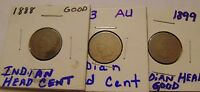 1888  1893 1899   INDIAN HEAD CENT   3 COIN LOT