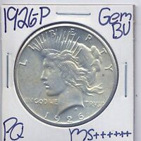 1926 P PEACE DOLLAR UNCIRCULATED US MINT GEM PQ SILVER COIN BU UNC MS