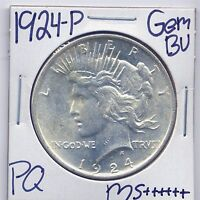 1924 P PEACE DOLLAR UNCIRCULATED US MINT GEM PQ SILVER COIN BU UNC MS