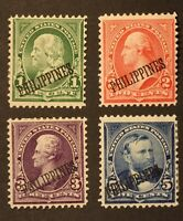 1899 US POSSESSION, PHILIPPINES, S 213-216, 1,2,3,5C STAMPS OVERPRINT, MH OG NG