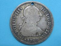 1784 FM CHARLES III 2 REAL MEXICO MINT SPANISH COLONIAL SPAIN LY