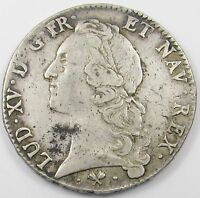 FRANCE   LOUIS XV  1 ECU SILVER COIN DATED 1769L