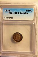 1833 CAPPED BUST SILVER HALF DIME,ICG G 06