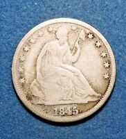 1845/5 O 50C LIBERTY SEATED HALF DOLLAR FINE GOOD/VG CONDITION FS 301 WB 104