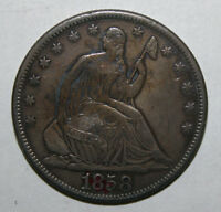 1858 S SEATED LIBERTY SILVER HALF DOLLAR  J4