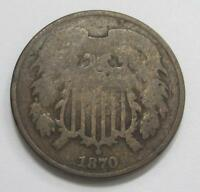 1870 TWO CENT PIECE  LOW MINTAGE  CLEAR DATE  HARDER COIN TO FIND