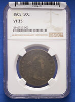 1805 DRAPED BUST HALF DOLLAR NGC VF 35 PROBLEM FREE. TOTALLY ORIGINAL.
