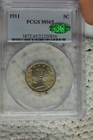 1911 5C PCGS MINT STATE 65 CAC
