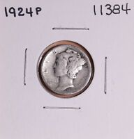 1924 P SILVER MERCURY DIME 11384 GOOD