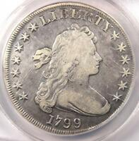 1799 DRAPED BUST SILVER DOLLAR $1   CERTIFIED ANACS F15 DETAILS    COIN