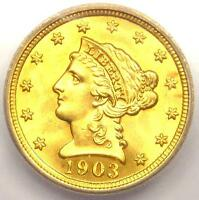 1903 LIBERTY GOLD QUARTER EAGLE $2.50   ICG MS66    IN MS66   $1,440 VALUE