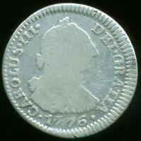 POTOSI MINT BOLIVIA UNDER SPAIN SILVER COIN ONE REAL 1776 J.R. FINE CONDITION