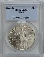 1996-S NATIONAL COMMUNITY SERVICE NCS COMMEMORATIVE SILVER DOLLAR PCGS MINT STATE 69