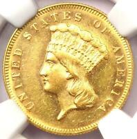 1869 THREE DOLLAR INDIAN GOLD PIECE $3   NGC UNCIRCULATED UNC MS    DATE