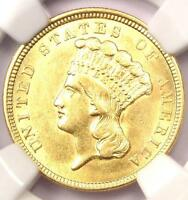 1854 THREE DOLLAR INDIAN GOLD PIECE $3   CERTIFIED NGC AU DETAILS    COIN