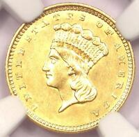 1857 INDIAN GOLD DOLLAR COIN G$1   CERTIFIED NGC UNCIRCULATED DETAILS UNC MS
