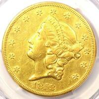1853 O LIBERTY GOLD DOUBLE EAGLE $20   PCGS AU DETAILS    NEW ORLEANS COIN