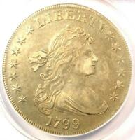 1799 DRAPED BUST SILVER DOLLAR $1 - CERTIFIED ANACS EXTRA FINE 40 EF40 - $4,800 VALUE