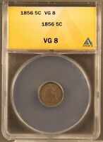 1856 H10C SEATED LIBERTY -STARS CERTIFIED ANACS VG-8