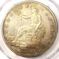 1874 CC TRADE SILVER DOLLAR T$1 COIN   CERTIFIED PCGS AU DETAILS CHOP MARK