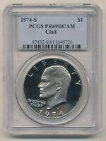 1974-S EISENHOWER DOLLAR PROOF DEEP CAMEO CLAD PCGS PR69 DCAM