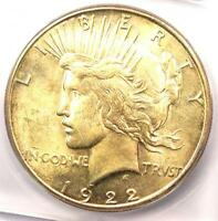 1922-S PEACE SILVER DOLLAR $1 - CERTIFIED ICG MINT STATE 64 -  IN MINT STATE 64 - $275 VALUE