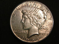 1928 PEACE SILVER DOLLAR AU THE KEY DATE