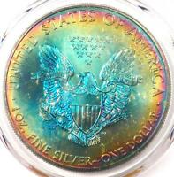2012 TONED AMERICAN SILVER EAGLE DOLLAR $1 ASE - PCGS MINT STATE 68 - RAINBOW TONING COIN